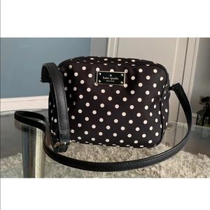 Kate Spade Black Nylon Polka Dots Small Crossbody